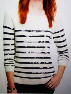 Ann Taylor striped glitter swtr