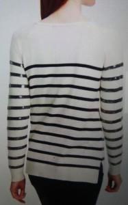 Ann Taylor striped glitter swtr bk